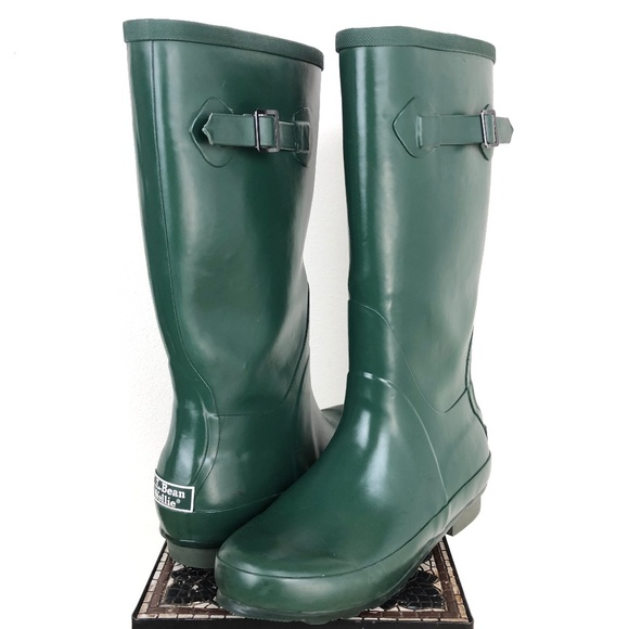 3e5c55f514e LL Bean Wellies Rain Boots Green Womens Size 7